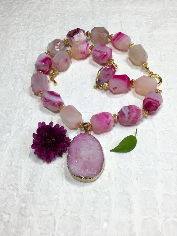 Pink Agate Nugget Necklace-Pink Druzy  by ConnieHowardCreation