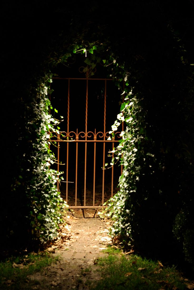 Landscape lighting to highlight a gated entrance
