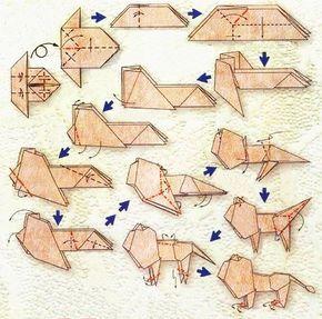 Diagramme d'origami du zodiaque : le lion