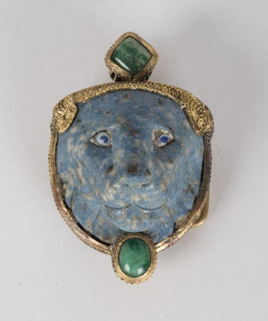 ~ Half of a Clasp or Buckle.  Culture: Egypto-Roman  Period: Saite Period, XXVI-XXX Dynasty  Date: A.D. 3rd century   Medium: Porcelain, emerald, and gold