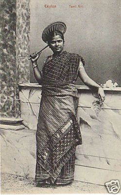 A 1910 postcard image of a Sri Lankan Tamil girl.