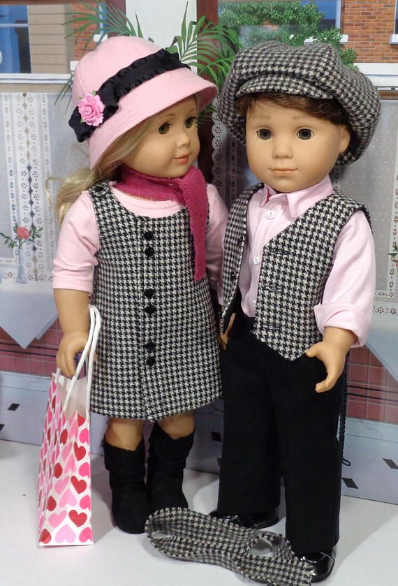 """Valentine's Day matching outfits for 18"""" dolls by SugarloafDollClothes via Etsy"""