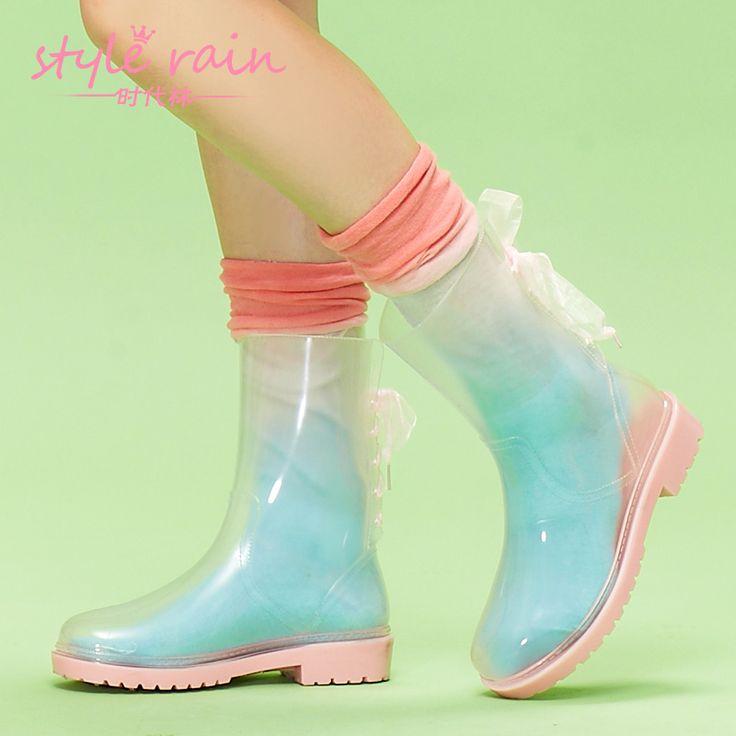 2014 verkoop nieuwe botas femininas botas transparante martin overstrung water schoenen mode voor vrouwen regen laarzen laarzen vrouw hg002