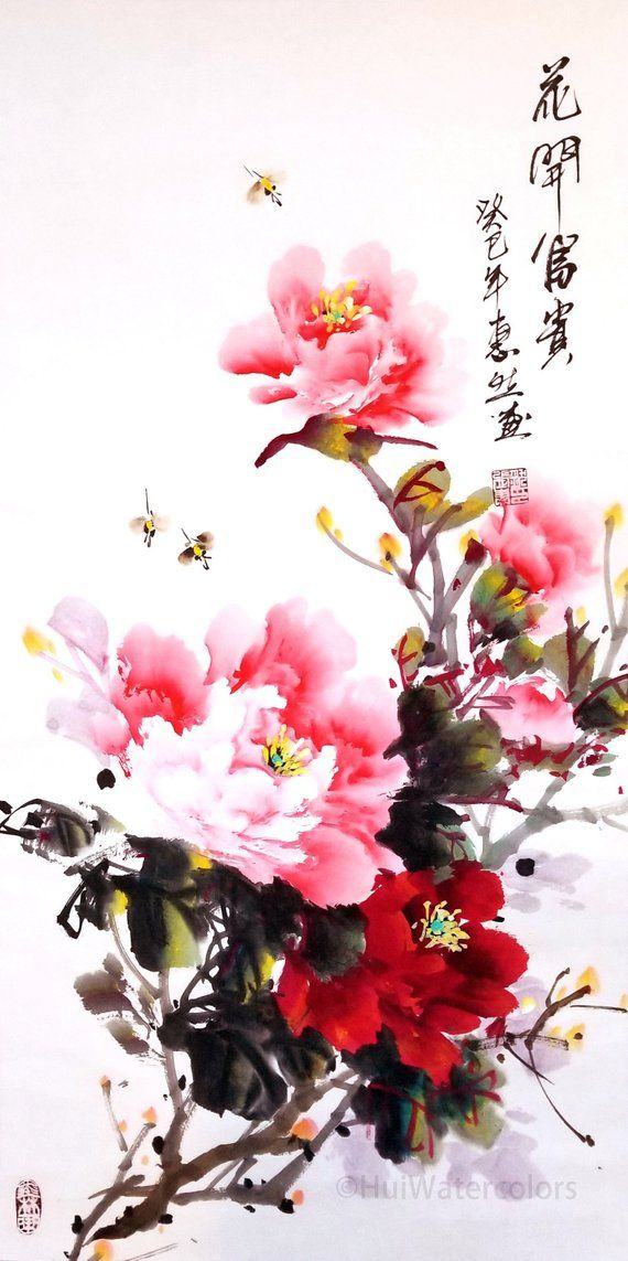 Original Traditional Chinese Watercolor Peony Flower Painting