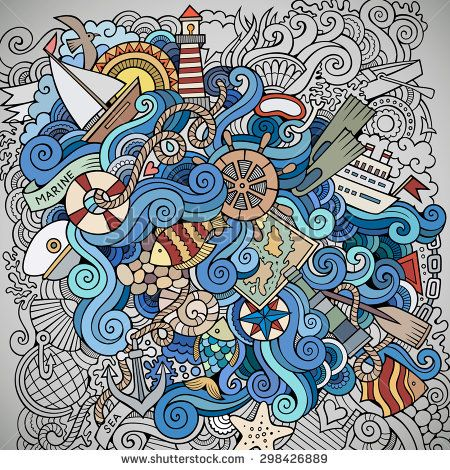 Doodles abstract decorative marine nautical background