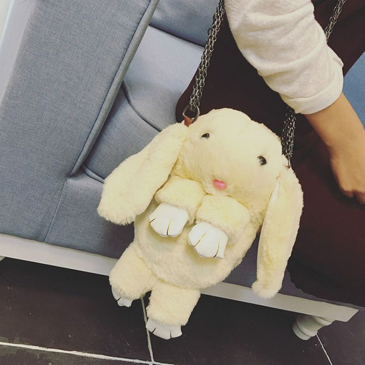 Cute Bunny Women Shoulder Bags Crossbody Rabbit Shape Cartoon Creative Fashion Girls Kawaii Animals Flush Soft With Chains