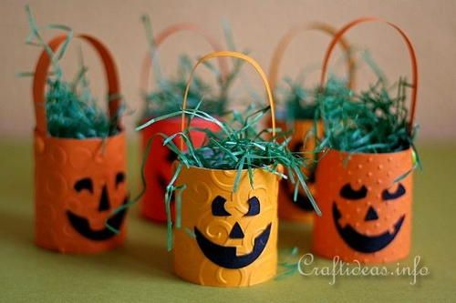 Hanging Halloween Pumpkin Baskets