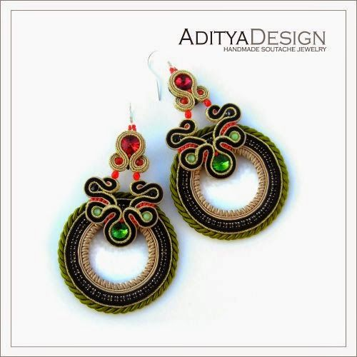 Polka 134 model, soutache earrings