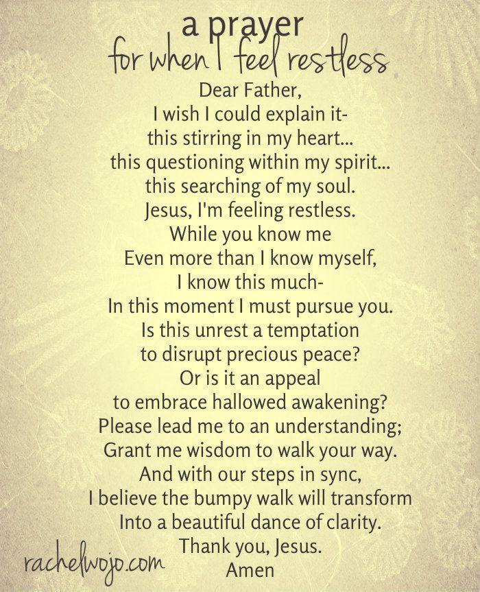A Prayer for when I feel restless