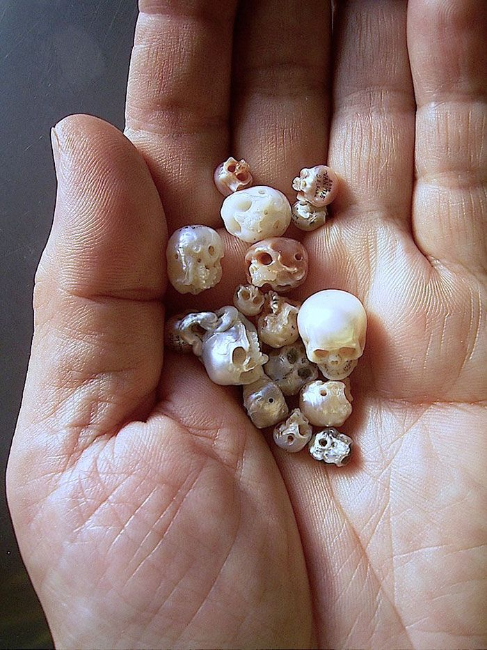 Tiny skulls from jewellery designer Shinji Nakaba, which are all crafted out of pearls.