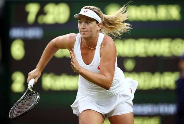 Coco Vandeweghe of the United States chases down the ball during the Ladies Singles first round match against Kateryna Bondarenko of Ukraine on day two of the Wimbledon Lawn Tennis Championships at the All England Lawn Tennis and Croquet Club on June 28, 2016 in London, England.