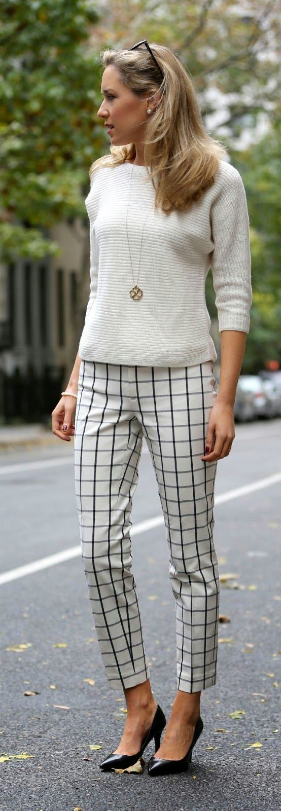 Street Style With White Sweater And Black Heels - ladies fashion style