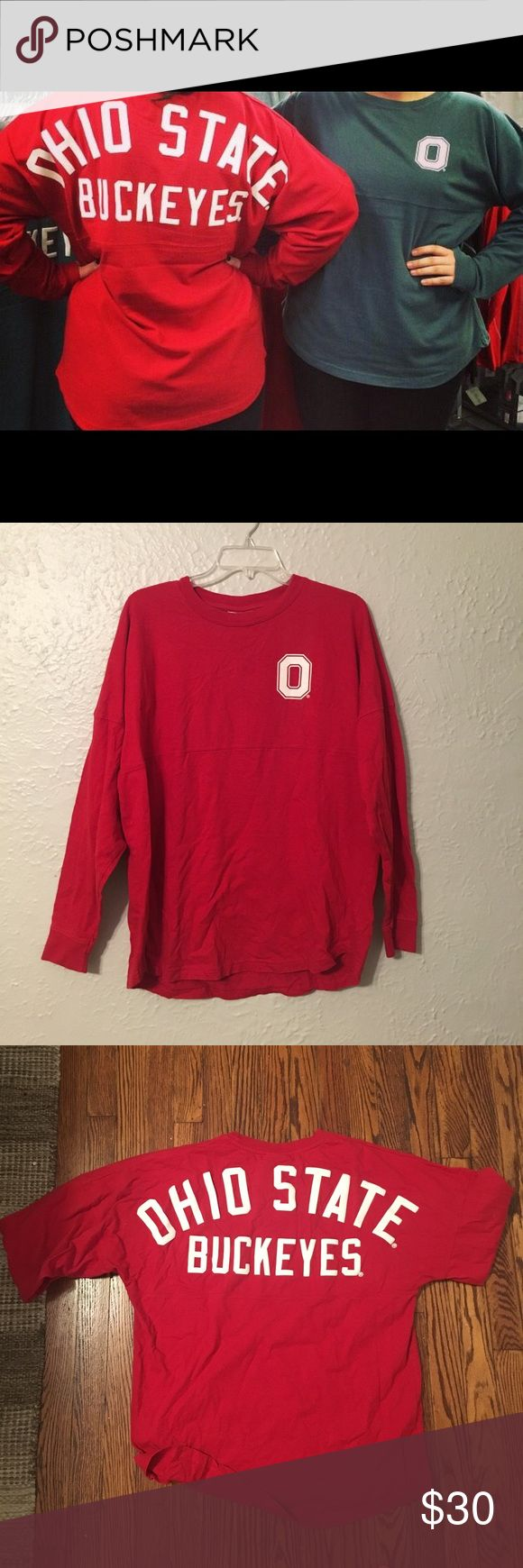 """Red Ohio state spirit jersey size small Red Ohio state spirit jersey size small ; brand is """"j America"""" from bookstore on OSU's campus j. america Tops"""