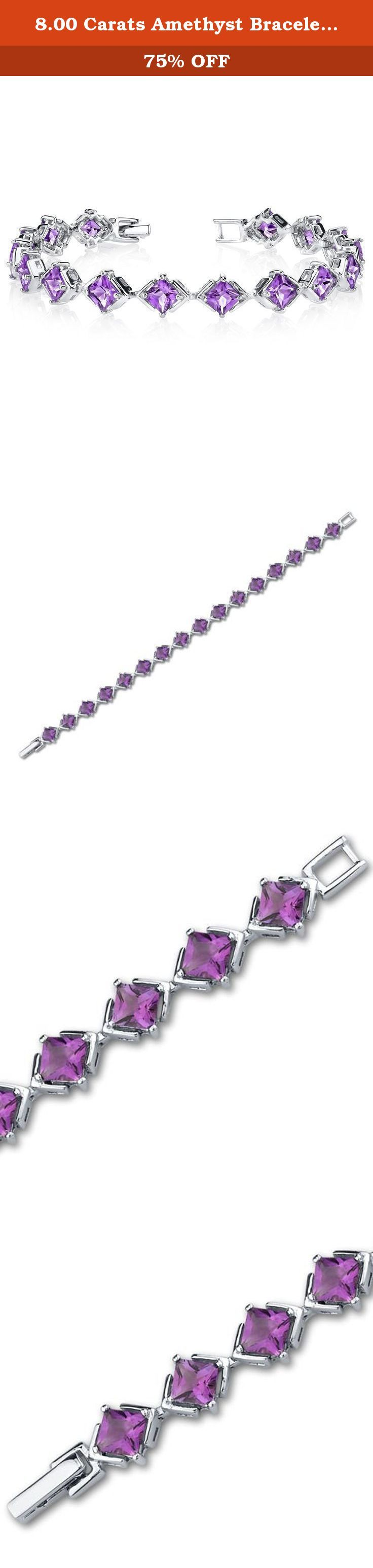 8.00 Carats Amethyst Bracelet Sterling Silver Princess Cut. 8.00 carats total weight Princess Cut Amethyst Gemstone Bracelet in Sterling Silver Stones: Genuine Amethyst : 16 pieces, Princess Cut 5.00mm, 8.00 carats total weight Gemstones have a deep rich color and tremendous fire. Bracelet: 8.69 grams Pure Sterling Silver with .925 stamp 7 1/4 length, 3/8 width Approximate Retail Value: $159.99 Bracelet features one of akind design with a beautiful Rhodium Finish. 100% Money Back…
