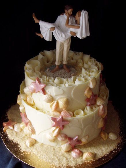Beautiful Beach Wedding Cake ~ all edible.