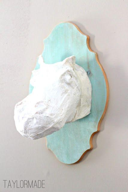 DIY Paper Mache Hippo Head