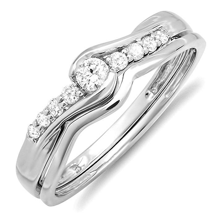 0.25 Carat (ctw) 18k White Gold Round Diamond Ladies
