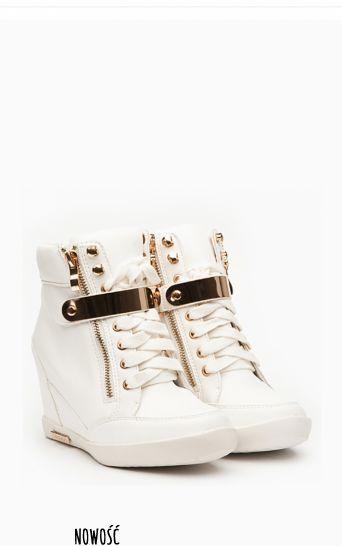 Sneakersy trampki na koturnie Serena white - Nowości Obuwie - Nowości