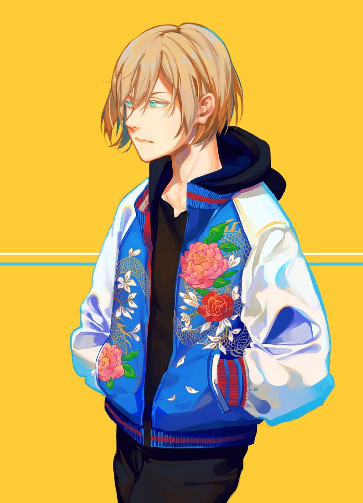 """hanromi: """" Yurio in a flower sukajan jacket! The colours burned my eyes but it was totally worth it for this small fashionable tiger"""