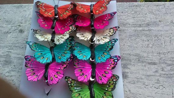 12 farfalle vera piuma con clips  impermeabilizzate bianche e