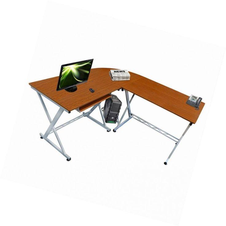 Walnut Office Corner Computer Table Desk L Sliding Keyboard Shelf Workstation #Lyndan #ModernSophisticated