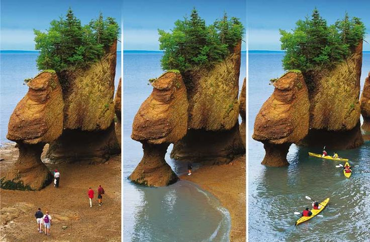Hopewell Rocks, Bay of Fundy. High tide will almost cover rocks.