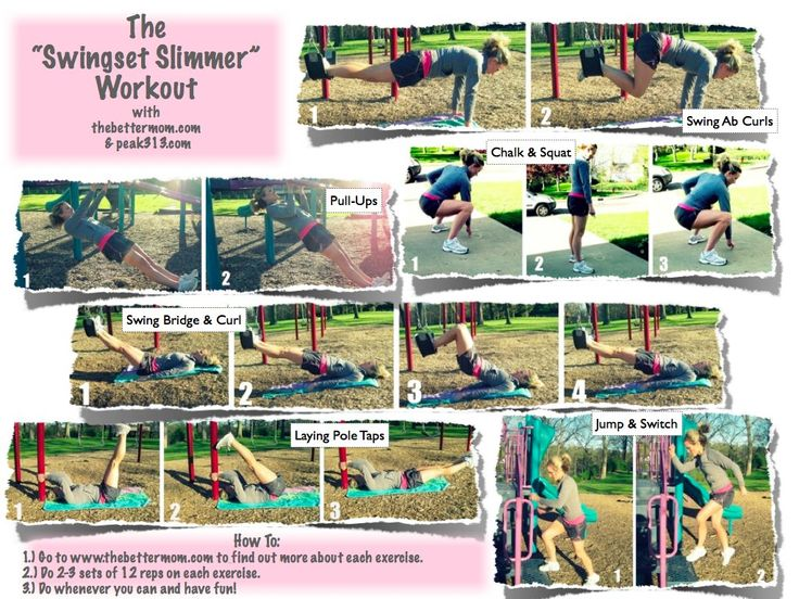 """The """"Swingset Slimmer"""" workout, to do at the playground instead of playing with my phone."""