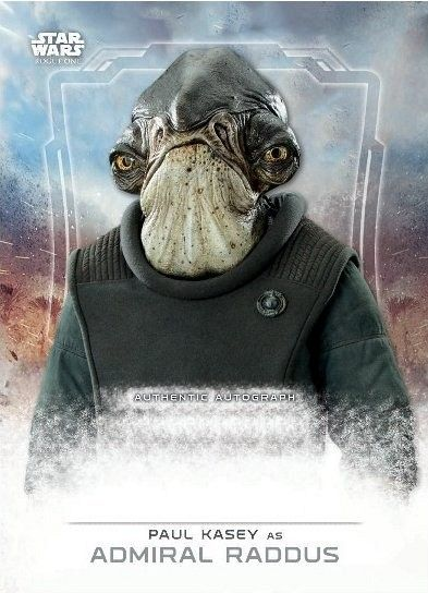 Star Wars Rogue One Admiral Raddus Card Star Wars: Rogue One Cards Reveal Character Names & Actors