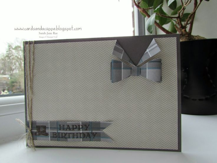 Stampin' Up UK Demonstrator Sarah-Jane Rae Cards and a Cuppa blog: Guy Greetings with the Bow Punch by Stampin' Up! plus FREE Tutorial on how to make a Bow-Tie with your Bow Punch :-)