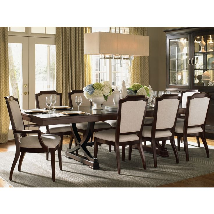 Westwood Rectangular Expandable Dining Table in Ribbon Stripe Mahogany Veneer #dynamichome #lexington #dining #table #diningtable #mahogany #traditional #expandable #lux #luxe #elegant #style #designer #transitional #diningroom #wood #furniture #homedecor #interiors #interiordesign