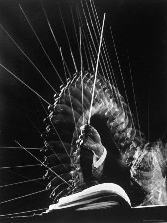 Stroboscopic image of the hands of Russian conductor Efram Kurtz whilst conducting, by Gjon Mili