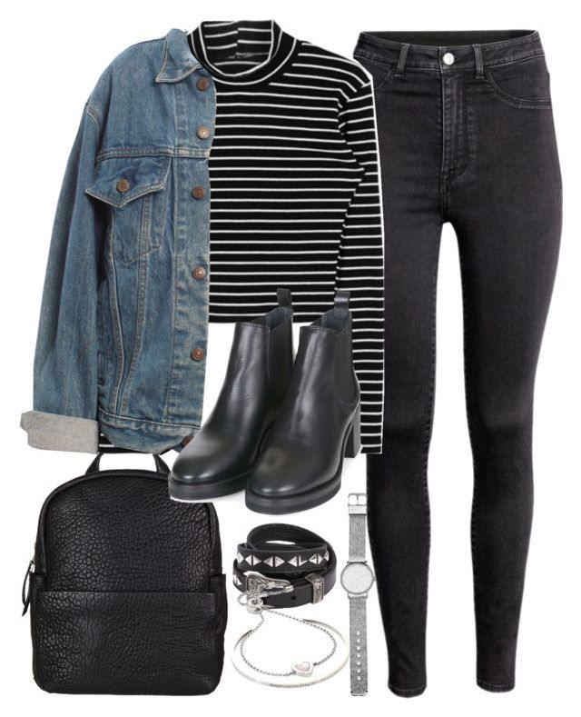 """Outfit for uni with a denim jacket"" by ferned on Polyvore featuring Levi's, Topshop, Yves Saint Laurent, Witchery and Michael Kors"