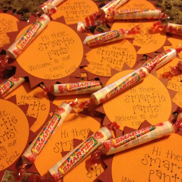 I'm going to have these on their desks at orientation/open house :)  #smarties #back to school