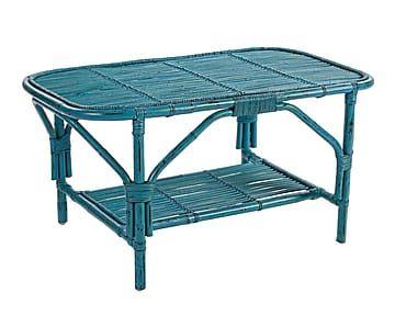 Mesa de centro de ratán Rosita - azul