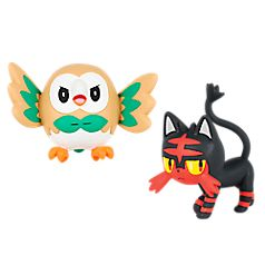 Your favorite Pokémon are ready for action! This pack includes two of the first partner Pokémon from Alola Region, the Grass-type Rowlet and the Fire-type Litten. Highly detailed 2'' figure posed for battle! Gotta Catch 'Em All!™