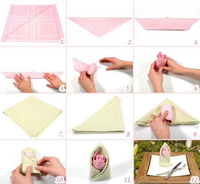 1000 images about pliage de serviette sur pinterest - Serviette de table pour cantine ...