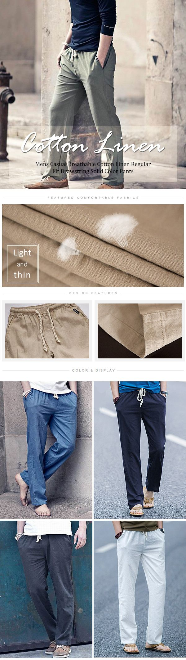 Mens Casual Breathable Cotton Linen Regular Fit Drawstring Solid Color Pants