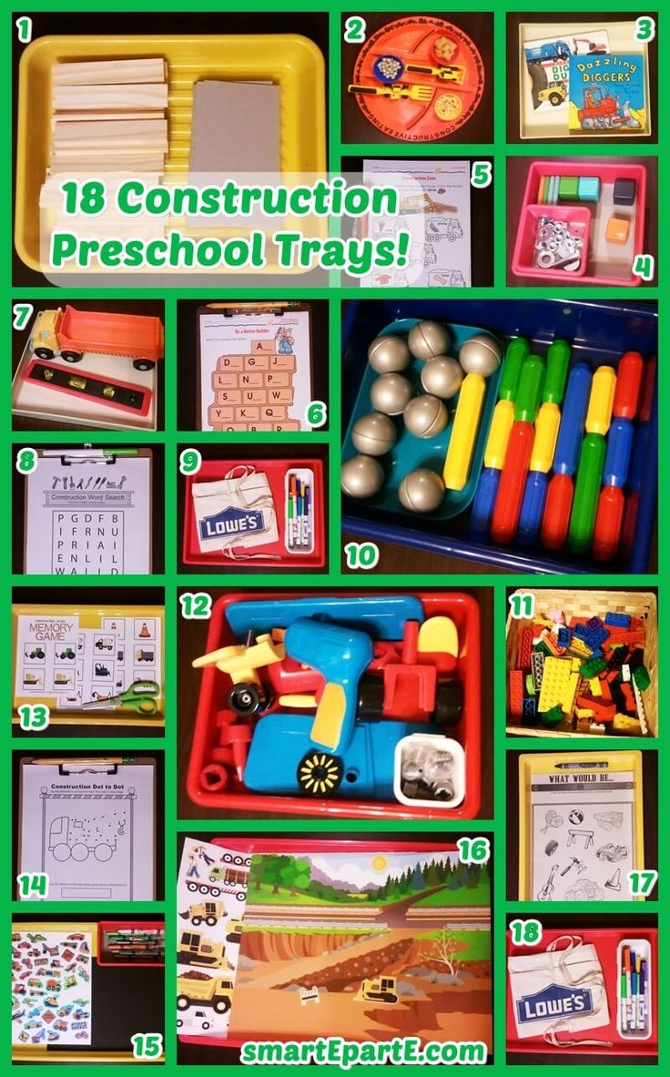 18 Construction Preschool Trays! We had a fun week of construction preschool! It was easy thanks to toys we already had, great free printables, and more!