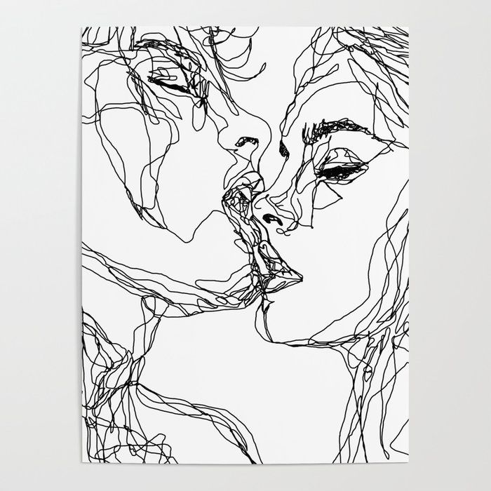 kiss couple kissing illustration drawing art print poster – Ayla Phoenix
