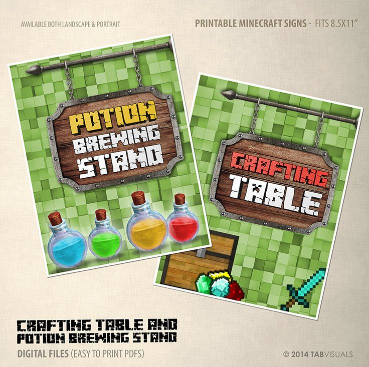 Potion Brewing Stand & Crafting Table Sign 12 by