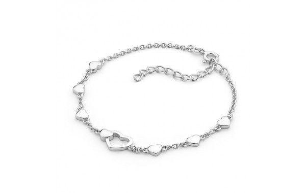 Sterling silver puff heart bracelet