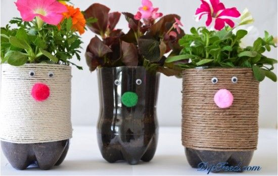 Flower Plastic Bottle Planters
