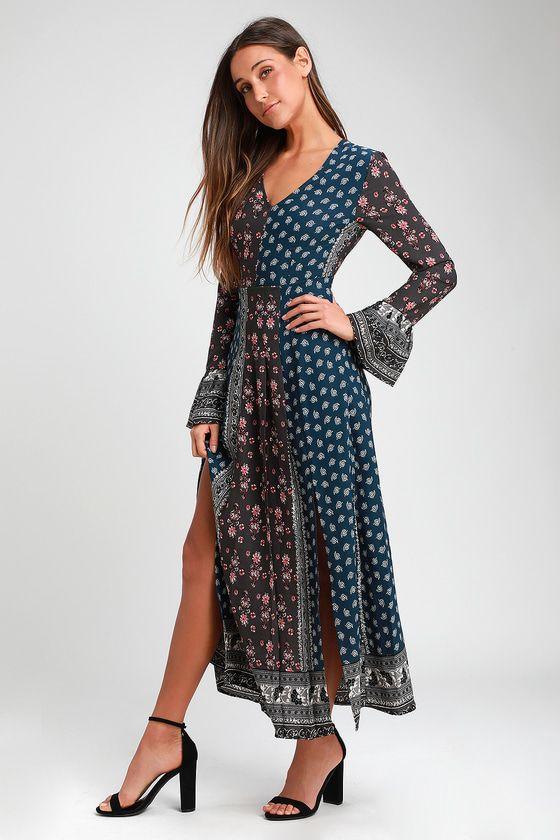 0603991022d10 Clover Dark Blue Print Long Sleeve Maxi Dress in 2019 | clothing ...