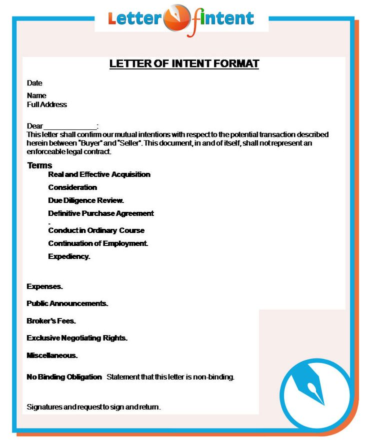 Letter Of Intent Format Http://Www.Letter-Of-Intent.Org/What