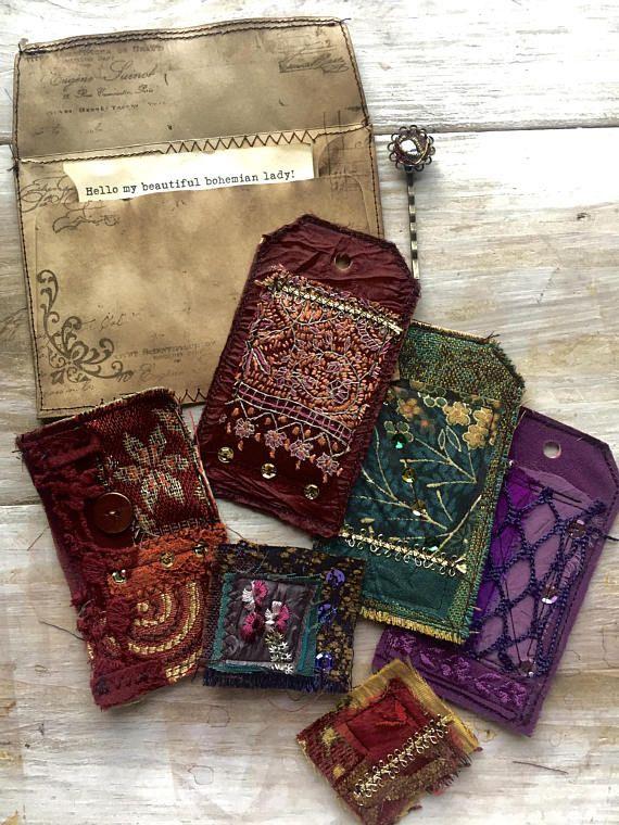 Bohemian Textile Art Embellishment Pack 6 | Junk journal ...