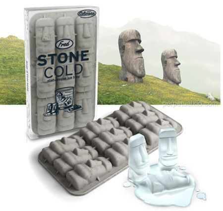 STONE COLD ICE CUBE TRAY    The Moai of Easter Island keep their watch over the Pacific with a cold, steely gaze