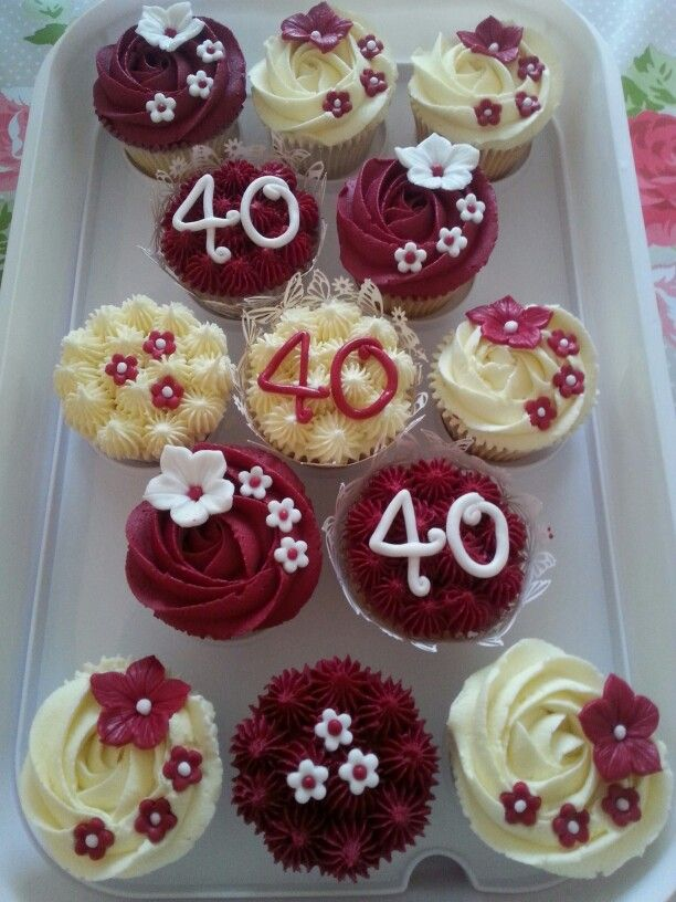 Ruby wedding anniversary cupcakes