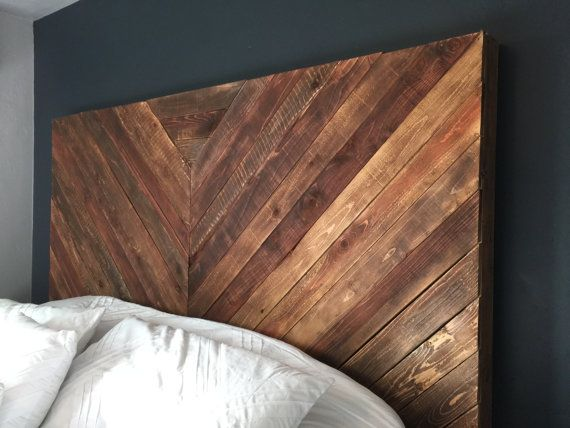 A beautiful hand crafted chevron wood headboard. Reclaimed rustic industrial style. Made from white and red woods.  Style customizable. Color