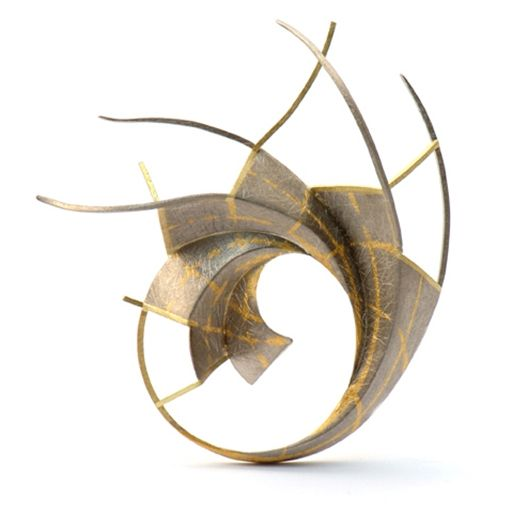 Brooch   Will Evans. 'Fibonacci'.  18ct Gold (Yellow), 18ct white gold and 24ct Gold