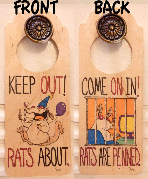Rat Doorhanger Sign by RatrixShop....This sign will definitely keep the door to door salesmen away !